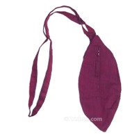 Small Silk Look Bead Bag  w/ Zipper, Magenta
