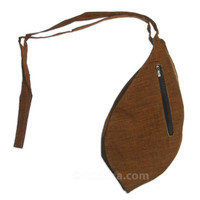 Medium Silk Look Bead Bag  w/ Zipper, Brown