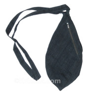 Medium Silk Look Bead Bag  w/ Zipper, Blue-Grey