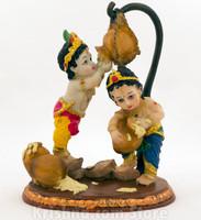 "Krishna & Balarama Figurine, 7.5"""