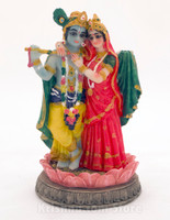 Radha & Krishna on a Lotus Figurine, 5.5""