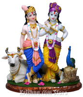 Krishna & Balarama with Cow Figurine, 8""