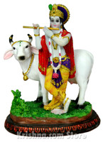Krishna with Cow Figurine, 5.5""