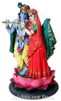 Radha-Krishna on a Lotus Figurine, 13""