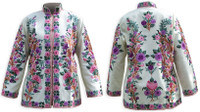 Kashmiri Embroidered Cream Silk Jacket, Pink & Purple Roses, Marked