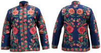 Kashmiri Embroidered Navy Silk Jacket, Orange & Rose-Pink Daisies