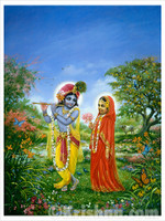 "Radhika Offering a Flower to Krishna, Canvas Print 16"" x 20"""