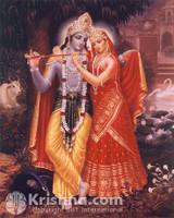 """Radha and Krishna Photo Print, Red Dress, 8""""x10"""""""