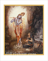 Radha Worshiping Krishna Poster, Large