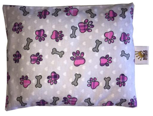 Aromatherapy Pillow Pet : Bones & Purple Plaid PawPrints - Flannel - Noble Pet Company