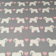 Bichon Frise in Grey with Pink Hearts