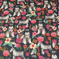 Schnauzer floral dog fabric in Basic Cotton Ultra