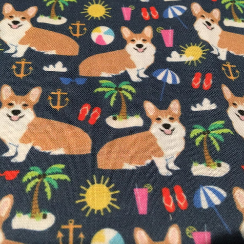Tropical Beach Corgi Fabric swatch