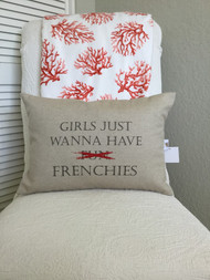 Girls Just want to have Fun - Frenchies in a beautiful Oatmeal Canvas colored fabric