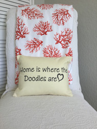 "Home is Where the Doodles are 14.5"" x 11.5"" Throw Pillow in Yellow Cotton Canvas Fabric.  Black lettering."