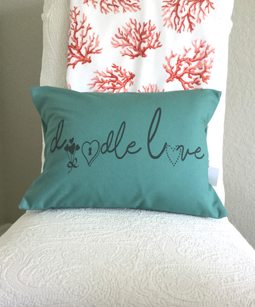 Doodle Love in Bright Teal