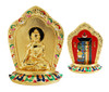 "Gold plated plaque with Sakyamuni on the front, and the Kalachakra on the back. Stands 2.75"" tall."