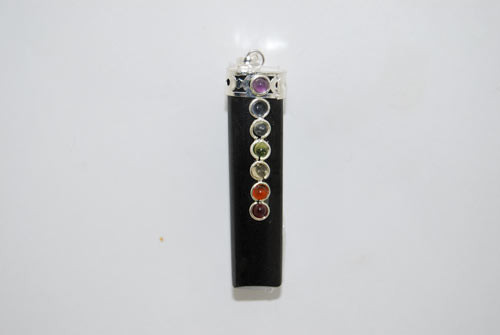 7 Chakra Crystal Pendant Black