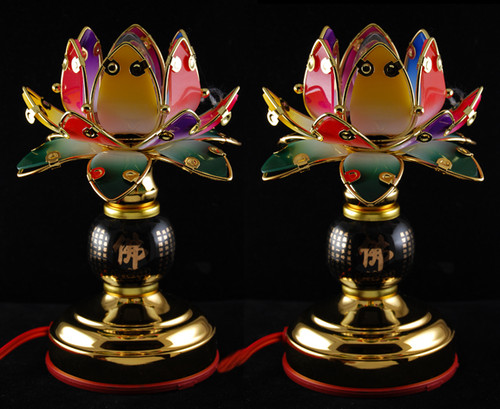 Colored Lotus Heart Sutra Lights (Pair)