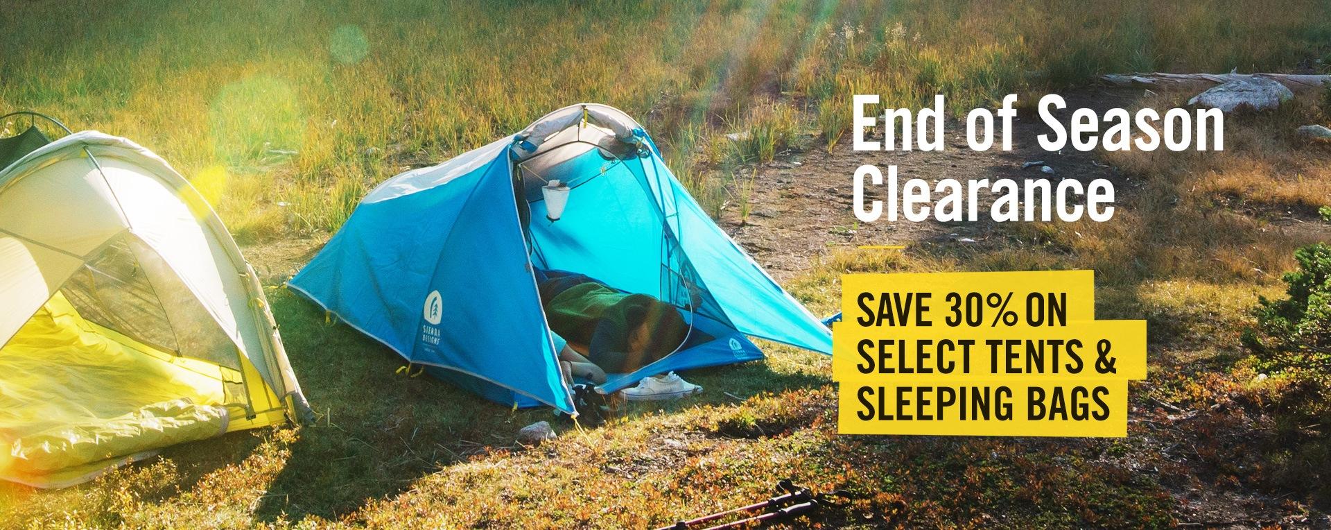 Save 30% on Select Tents & Sleeping Bags