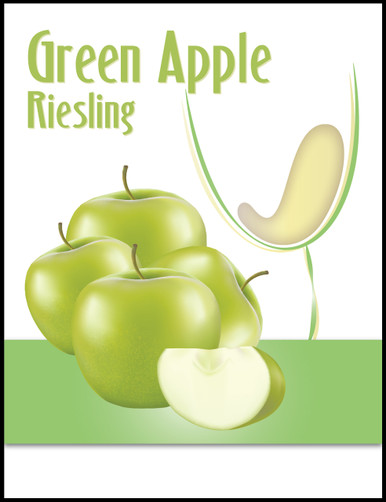 Green Apple Riesling Wine Bottle Labels