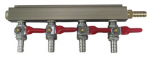 4 Way Aluminum Gas Manifold with 5/16 Barb