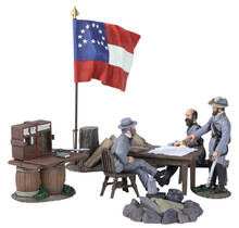 "W Britain ""Decisive Day"" - Confederate Generals Lee, Ewell and Early With Table, Map, Chairs and Lee's Headquarters Flag No 31207"