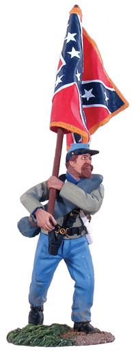 w britain confederate infantry flagbearer advancing army of