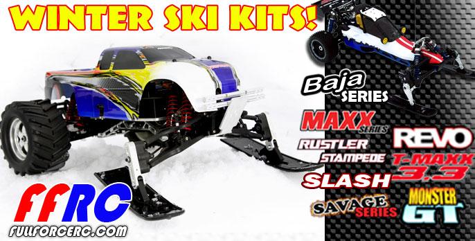 Winter ski kits for your T-MAXX, Revo, Rustler, Stampede, Slash, Baja and more!