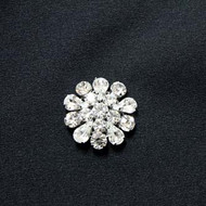 Karina Silver Crystal Rhinestone Button Small