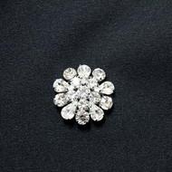 Karina Silver Crystal Rhinestone Button Small