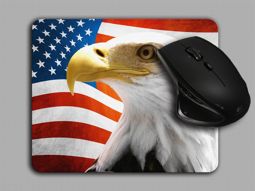Blue Fox Gifts Cloth top mouse pad featuring the American Flag with an American Bald Eagle