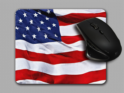 American Flag Cloth top Mouse Pad by Blue Fox Gifts