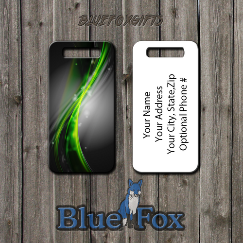 Blue fox Gifts Abstract Green Swirl Luggage Tag