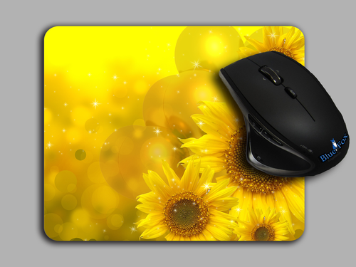 Blue Fox Gifts Cloth top mouse pad featuring a Photo real SunFlower Print