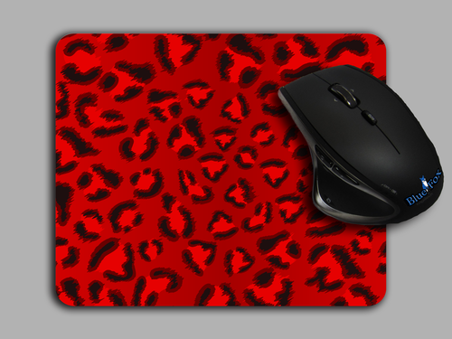 Red Leopard Print Cloth top Mouse pad by Blue Fox Gifts