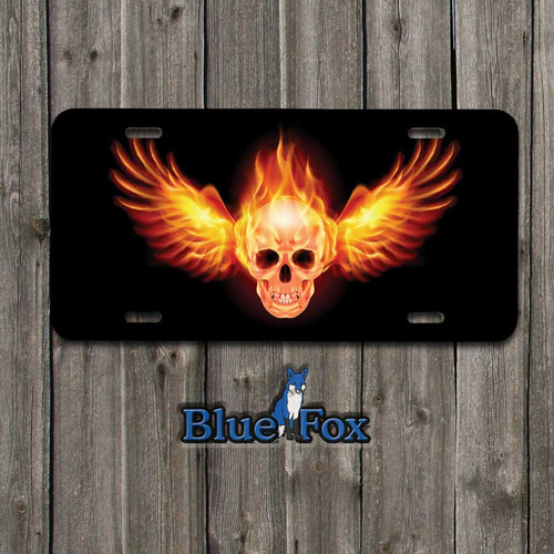 Flaming Winged Skull Vanity License Plate by Blue Fox Gifts