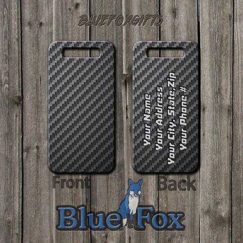 Carbon Fiber Printed Deluxe Luggage Tag by Blue Fox Gifts