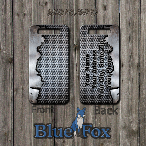 Industrial Grunge Metal Printed Luggage Tag by Blue Fox Gifts