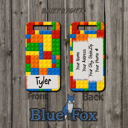 Kids Interlocking brick Luggage Tag by Blue Fox Gifts