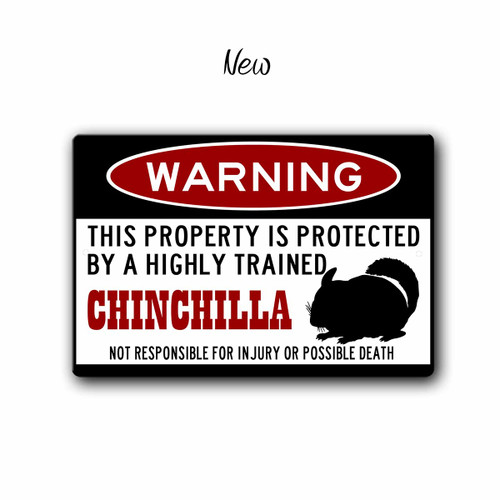 Funny Chinchilla Warning sign - New Style | Blue fox Gifts