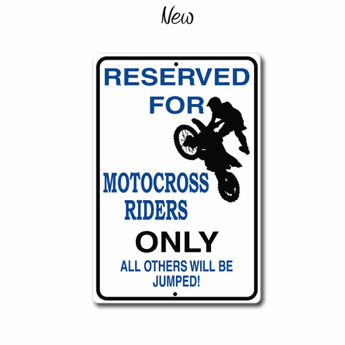 "Motocross Riders only Parking Sign, 12"" x 8"" Metal Sign 
