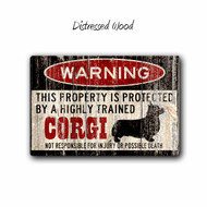 Funny Welsh Corgi Warning sign, Small Pet Sign - Distressed wood Style | Blue fox Gifts