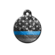 Round Thin Blue Line with black and white American Flag | Blue Fox Gifts