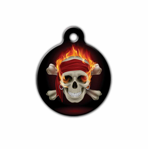 Flaming Pirate Skull Pet Tag | Blue Fox Gifts