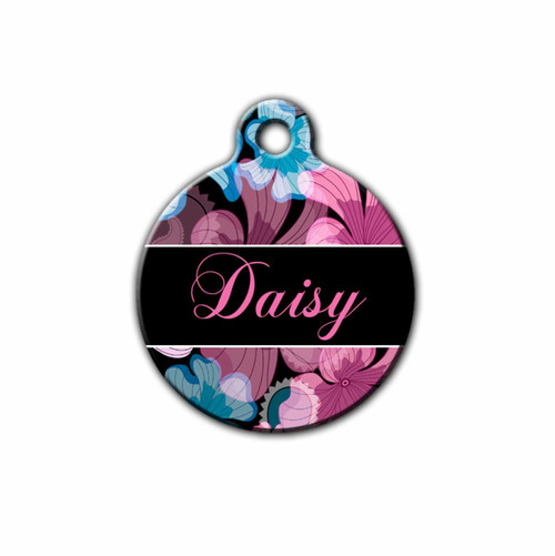 Pink and Teal Floral Pet tag, Round | Blue Fox Gifts