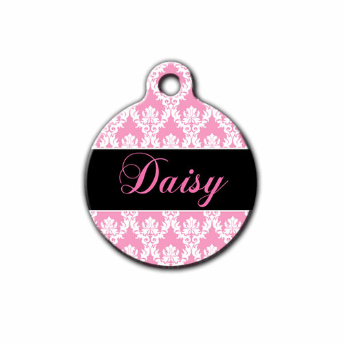 Round Pet tag featuring a Damask Pattern, Front | Blue Fox Gifts