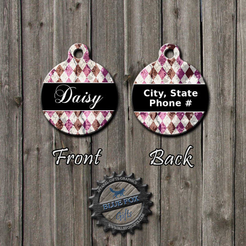 Distress Plaid Pet tag, Front  and Back | Blue Fox Gifts