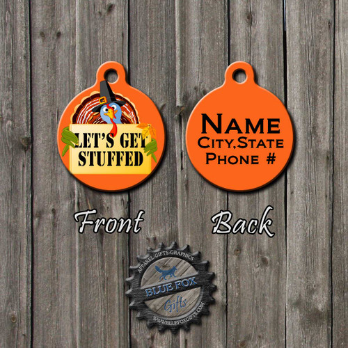 Let's Get stuffed Thanksgiving Pet Tag, Front | Blue Fox Gifts