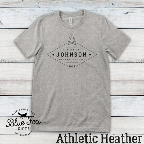 Personalized Vintage Family Camping Shirt, Athletic Grey | Blue Fox Gifts